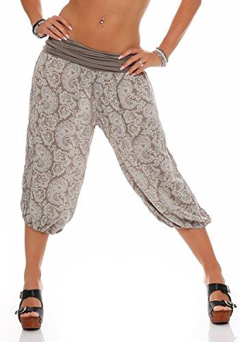 Malito 8581 - Pantalones pirata para mujer con estampado oriental, para baile, para relajarse marrón Talla única
