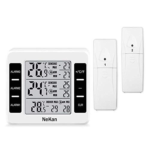 YOUWEIA Thermometer Innen Außen Wetterstation Thermometer Digital Innen Außen mit 2 Sensor Wasserdicht Max/Min Records ℃/℉ Schalter