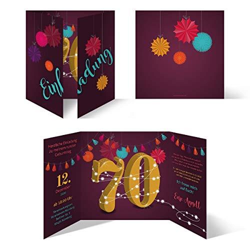 Ronde 60e verjaardag individuele uitnodigingskaarten uitnodigingen - slinger 50 Stück 70 jaar