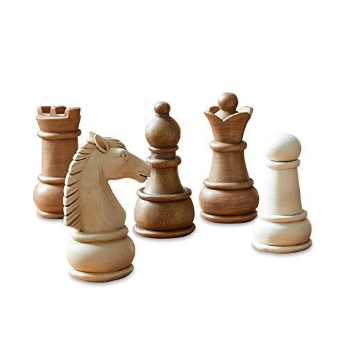 Loberon Figur 5er Set Chess, Polyresin, H/B/T ca. 10/5 / 5 cm, braun