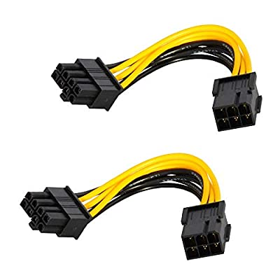 D-Orange 2 Pack 6-Pin to 8-Pin Power Adapter, Power Cable for Graphics Card, 18.5cm Length