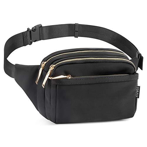 ZORFIN Fanny Packs for Women Men Fashion Waist Pack Bag Multi-Pockets Large Capacity Hip Bum Bag for Disney Travel Festival Cycling Running Hiking (Black2)