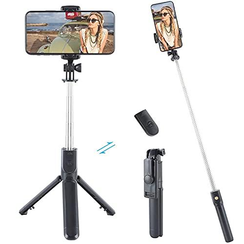 Bastone Selfie Wireless, Bastone Selfie, TikTok Selfie Stick Bastone Selfie Treppiede Estensibile Fino a 1m con Telecomando Wireless per Smartphone 4 in 1 Estensibile Bluetooth Selfie Stick Treppiede