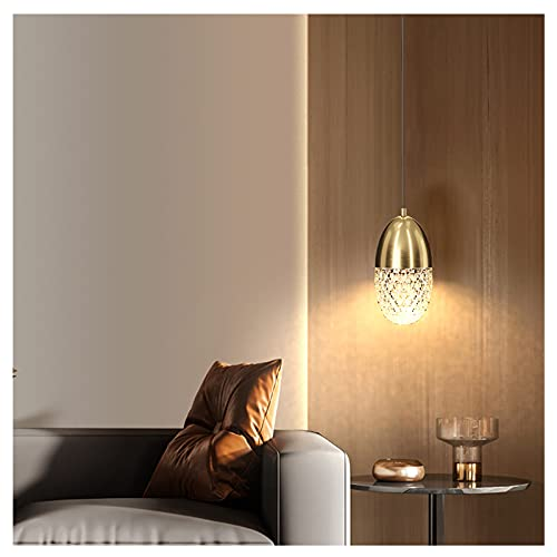 LWJDM Lámpara Colgante Moderna Cobre Iluminación Colgante Altura Ajustable Iluminaciin Colgante de Techo Pantalla de Cristal Luces Colgantes para Isla de Cocina G9*1(D: 10*H: 17.5cm),Oro