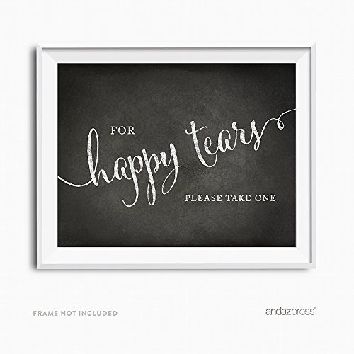 Andaz Press Wedding Party Signs, Vintage Chalkboard Print, 8.5x11-inch, For Happy Tears Tissue Kleenex Ceremony Sign, 1-Pack