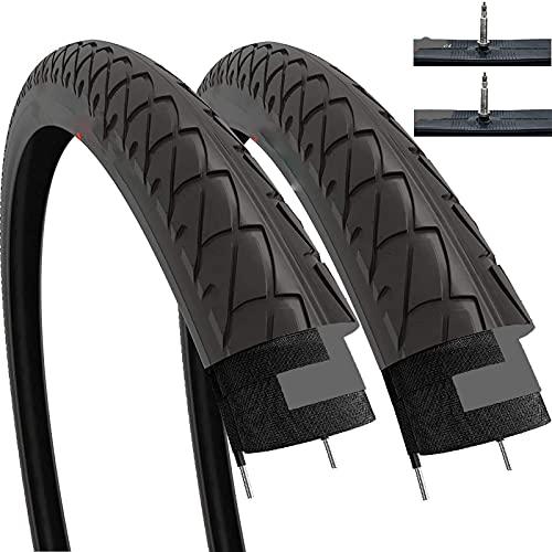 Hclshops - Par de neumáticos lisos con tubos interiores para bicicleta de montaña de montaña de montaña (paquete de 2)