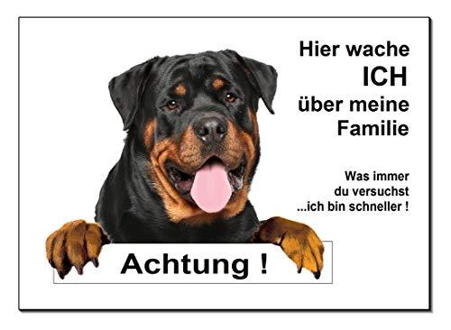 Rottweiler-Hier wache ich-Hundeschild-Schild-300 x 200 x 3 mm-Aluminium Verbund-Hund-Tierschild-Warnschild-Hinweisschild (1451-106 -30 x 20 cm ohne Löcher)