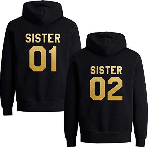 Best Friends Damen Sister Pullover Hoodie Für Zwei Mädchen Beste Freunde BFF (Sister 01, Gold Schwarz M)