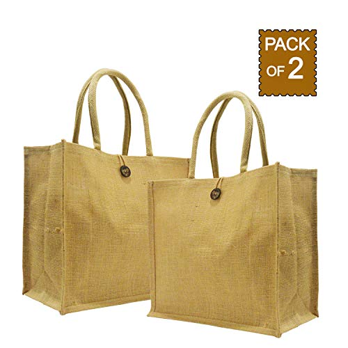 Jute Market Bags Medium SIze Natural and Reusable Jute Shopping Totes from Earthbags (Pack of 2)