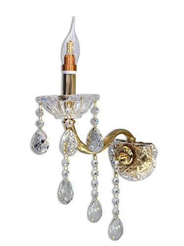 Vetrineinrete Applique candelabro lampada da parete con gocce pendenti di cristallo in acrilico con attacco E14 oro e argento stile retrò E34 illuminazione lampadario casa (Oro) F55
