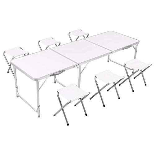 Rainberg Camping Table Set with 6 Chair, Outdoor Indoor Use for BBQ table, Picnic table, Garden Parties, White Foldable Portable Design table 6FT