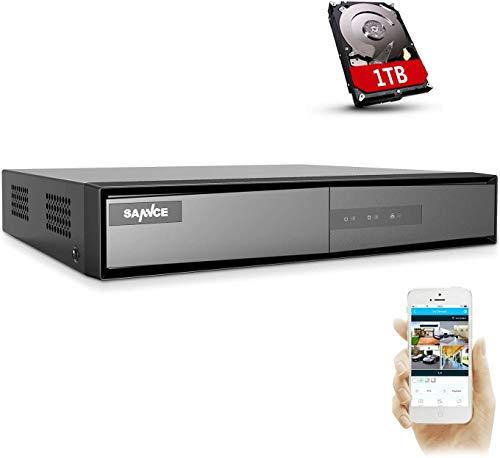 SANNCE DVR TVI 1080P 8 Canal para Grabación 24/7 Grabadora de Video H.264 + HDMI Alarma por Correo electrónico con Cámara CVBS/AHD/TVI/CVI/IP para Videovigilancia-1TB HDD