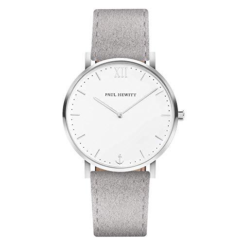 PAUL HEWITT Armbanduhr Edelstahl Sailor Line White Sand (Damen und Herren) - Uhr mit Alcantara Stoffarmband (Grau), Silberne Armbanduhr, weißes Ziffernblatt