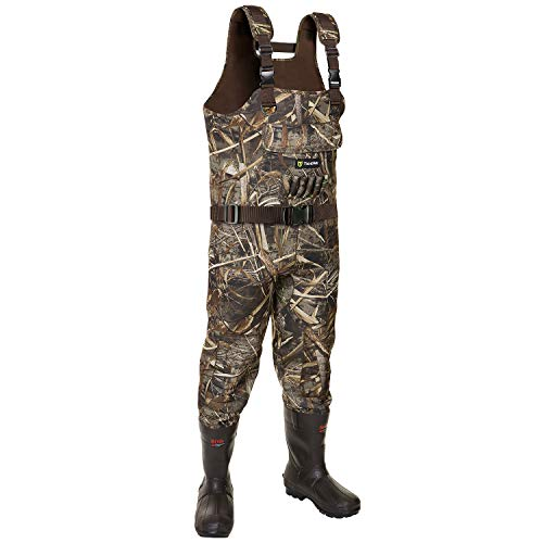 TideWe Chest Waders, Hunting Waders for Men Realtree MAX5 Camo with 800G Insulation, Waterproof Cleated Neoprene Bootfoot Wader, Insulated Hunting & Fishing Waders