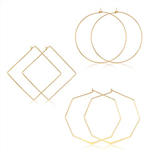 Geometric Hoop Earrings For Women Lightweight Thin Wire Thread Octagon Square Hoop Earrings Fashion Minimalist Jewelry For Women (Gold Square Circle Octagon)