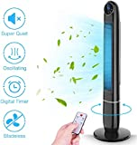 """Tower Fan, Air Choice Oscillating Tower Fan with Remote, 48"""" Bladeless Cooling Tower Fan with 3 Speed & 3 Modes, Quiet High Velocity Tower Fan Air Conditioner with LED screen, Tall Fan Tower with 12 Hours Timer"""
