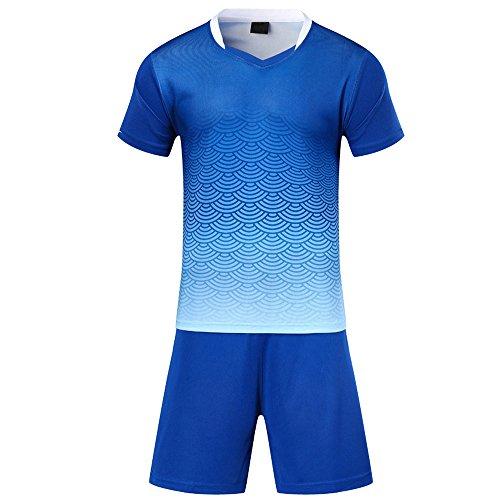 BOZEVON Kinder Jungen Fussball Trikots Eltern-Kind-Ausrüstung von Männer Sports Trainingstrikots Trikot und Hose, Blau,EU S=Tag M, Erwachsene(157-165CM)