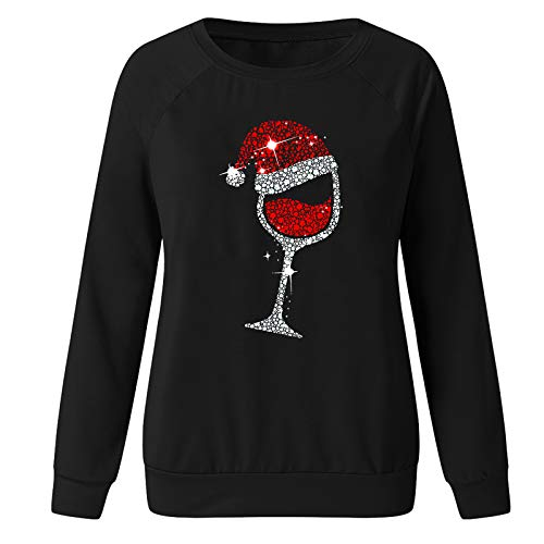 Auifor Damen Weihnachtenpullover, Teenager Mädchen Weihnachtspulli Rotweinglas und...