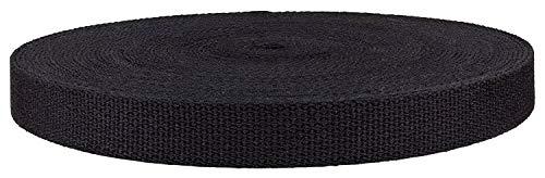 QIANF 1 1/2 Inch Black Heavy Cotton Webbing, 10 Yards