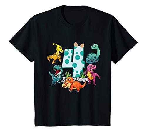 Kinder Geburtstagsshirt 4 Jahre Junge Dinosaurier Dino Geschenk T-Shirt