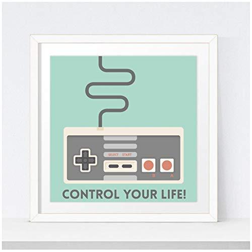 sjkkad Vintage Game Joystick Poster Stuur je leven gaming afdrukken speelkamer muurkunst canvas schilderij afbeelding Room Decor-50x50 cm geen lijst