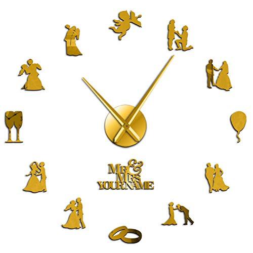 yage Pareja de Amantes comprometidos, decoración de Arte de Pared para Fiesta de Boda Personalizada, Reloj de Pared Grande, Reloj de Pared Grande Personalizado, Regalo de San Valentín