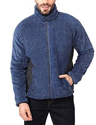 CAMEL CROWN Mens Fuzzy Fleece Jacket Full-Zip with Pockets Soft Fluffy Fleece Coat Jacket Sweater for Spring Outdoor Blue L