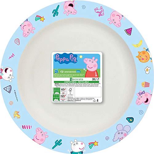 Procos 93199 93199 Peppa Pig - Platos compostables (8 unidades, 24 cm), diseño de Peppa Pig