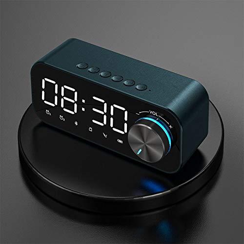 Aobay Reloj Despertador Altavoz Bluetooth Pantalla Digital LED Subwoofer inalámbrico Reproductor de música Reloj Despertador Reloj de Mesa Dacación de la casa (Color : Azul)