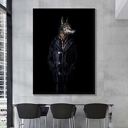 Geiqianjiumai Schwarzweiss-klassischer Löwentigerelefant-Giraffenwolfpferd-Wandkunstplakat und Drucktier, das Hut Leinwandmalerei rahmenloses Gemälde 40x50cm trägt