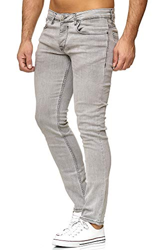 Tazzio Slim Fit Herren Styler Look Stretch Jeans Hose Denim 16533 (32/34, Grau)
