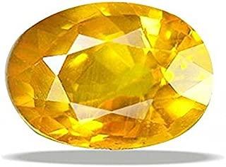GEMS HUB Yellow Sapphire (Pukhraj) 4.00-4.50Ct. Certified Natural Rashi Ratan Gemstone for Astrological Purpose