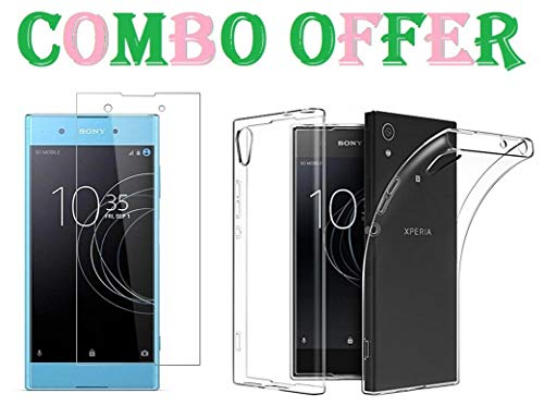 Sanjali 9H Gorilla Tempered Glass with Transparent Soft Back Cover for Sony Xperia Xa1 [Combo Offer]