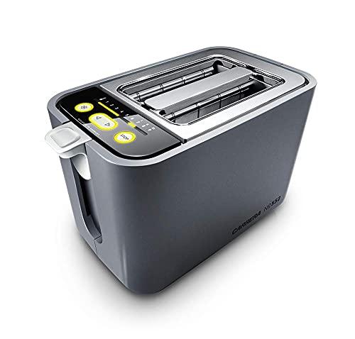 Tostador CARRERA N.º 552 con rejilla para bollos | 860 W, calefactor de vidrio de cuarzo, unidad de control digital, 9 precisos niveles de graduación y opción de cuenta atrás visual| para 2 rebanadas