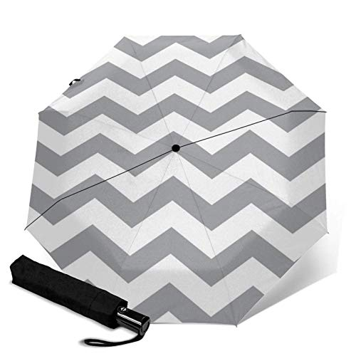 ZEH Premium Windproof Umbrella,Gray and White Chevron Pattern Travel Folding Automatic tri-fold Umbrella Compact Umbrella Lightweight SunRain Umbrella FACAI