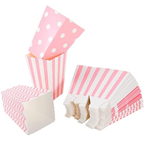 NUOLUX 48pcs Popcorn Boxes bolsa de palomitas caja palomitas de maíz rayas de color rosa