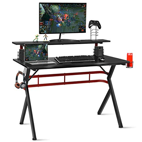 Tangkula Gaming Desk, Professional Gamer Workstation with Cup Holder, Headphone Hook, Handle Rack, Ergonomic PC Gaming Table with Monitor Stand, E Sports Computer Desk Table for Home, Office (Black)