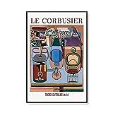 Cartel de la exposición de Le Corbusier, arte francés, museo abstracto retro, impresiones, mural moderno medieval, pintura en lienzo sin marco, A2 50x70cm