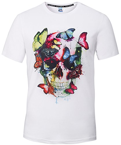 Pizoff Unisex Short Sleeve Crew Neck White 3D Colorful Butterfly Skull Print Slim Fit Breathable T-Shirt Y1779-01-S