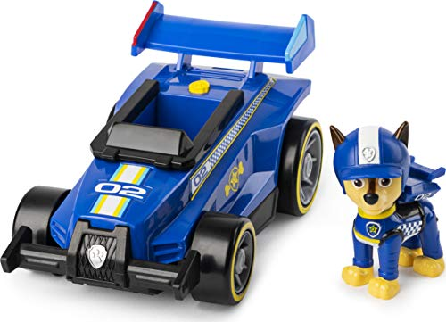 PAW Patrol Vehículo de Lujo Ready, Race, Rescue Chase's Race and Go con Sonidos, para niños de 3 años y más