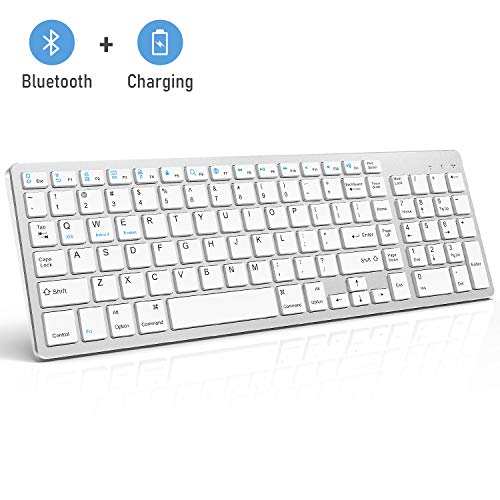 Bluetooth Keyboard, Jelly Comb Rechargeable Slim BT Wireless Keyboard with Number Pad Full Size Design for Laptop Desktop PC Tablet, Windows iOS Android-White and Silver