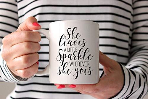 Taza té cerámica uso prolongado Ella deja un poco de brillo donde quiera que vaya Chica Cita del jefe Amante del vino Amante del vino Taza bebida café Regalo