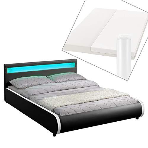 ArtLife Polsterbett Sevilla 140 x 200 cm - Französisches Bett mit Matratze, Lattenrost & LED – Holz & Kunstleder - schwarz – Jugendbett Gästebett