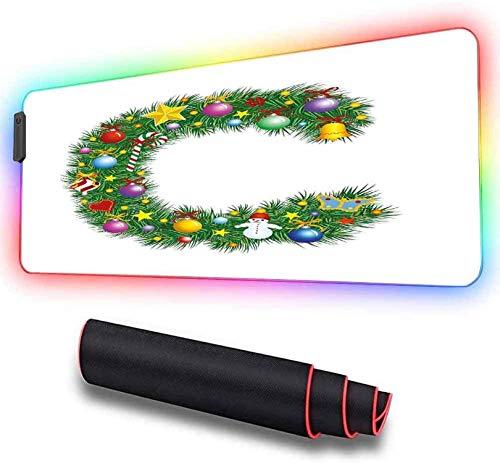 Alfombrilla de ratón LED RGB para juegos, letra de diseño