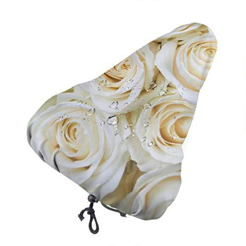 UPNOW Mädchen Fahrradsitzbezüge Schöne weiße Rose Blumen Wasserdichter Fahrradsitzbezug Waschbarer Fahrradsitzbezug mit Kordelzug Regen- und staubdicht für die meisten Fahrradsättel