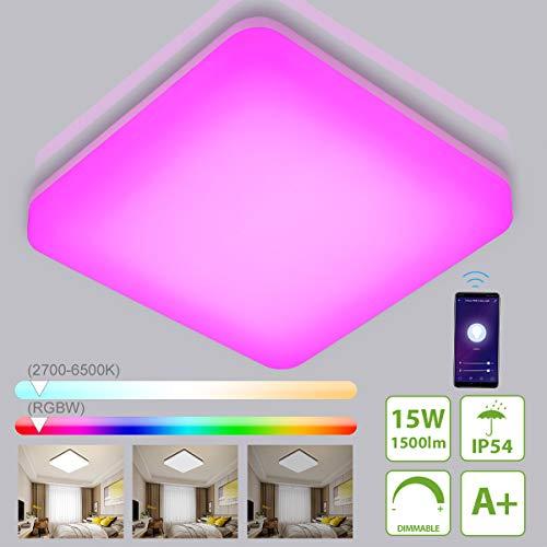 Oeegoo Alexa LED Deckenleuchte, 15W 1500LM Wifi LED Deckenlampe Dimmbar, RGB Farbwechsel IP54 Lampe für Kinderzimmer, Wohnzimmer, Schlafzimmer, Kompatibel mit Alexa Google Home, 2700-6500K