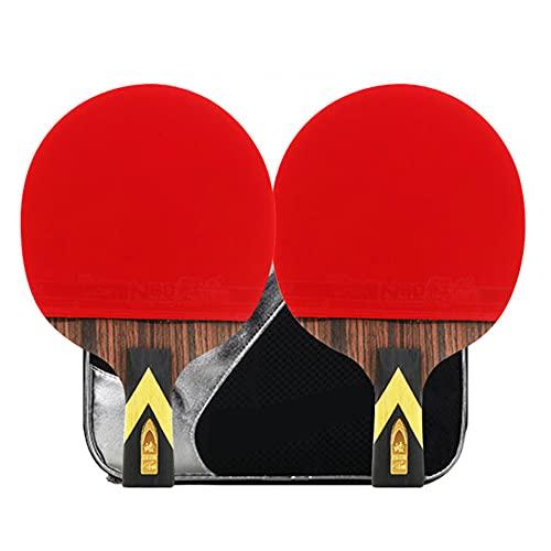 LINGOSHUN Raquetas de Tenis de Mesa Sport de Carbono,Raquetas de Ping Pong para Jugadores Intermedios/Principiantes,Juego Recreativo para 2 Jugadores / 6 Stars/Short handle