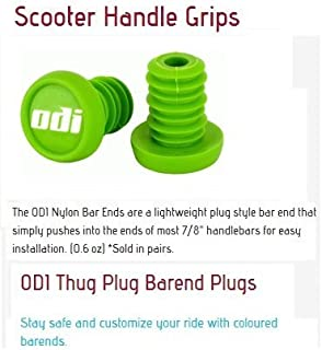 Odi Bar End Plugs For Scooters and BMX Bikes 1 Pair (Lime Green)