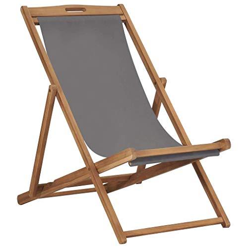vidaXL Teak Massiv Strandstuhl Klappbar Liegestuhl Klappstuhl Strandliege Gartenliege Sonnenliege Faltliege Liege Campingstuhl Grau