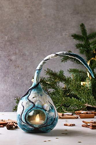 Handgemachte gefilzte Weihnachtsdekoration Laterne Lampe mit Bäumen Eule Winter Kerzenhalter LED-Leuchten